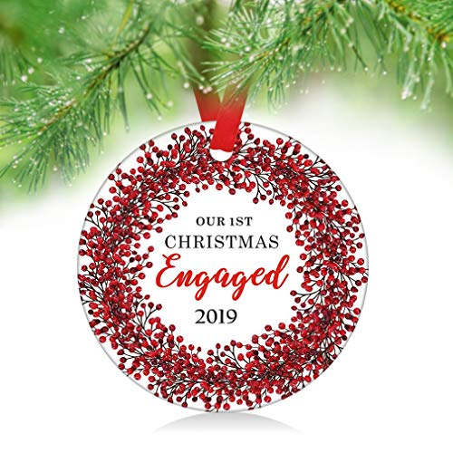 ZUNON Our First Christmas Engaged Christmas Ornament 2018, 1st Christmas Engraved Anniversary, Red Berries Wreath Ornament Couple Married Wedding Decoration 3
