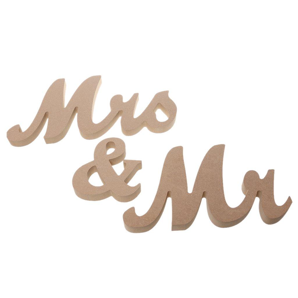 MagiDeal Rustikales Mr & Mrs Holzbuchstaben Holz Aufsteller ...
