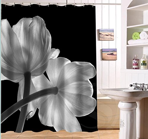 Amazoncom Shower Curtain Black And White Flowers Personalized