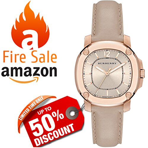 Swiss The BRITAIN LumiNova Burberry Womens Unisex Luxurious Rose Gold Watch Trench Leather Band BBY1503