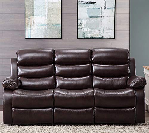 Harper Bright Designs Classic Bonded Leather Sectional Recliner Sofa 3-Seat Sofa Recliner