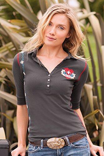 Alp-n-Rock Women's Alpenrausch Short Sleeve Deep V Polo, Charcoal
