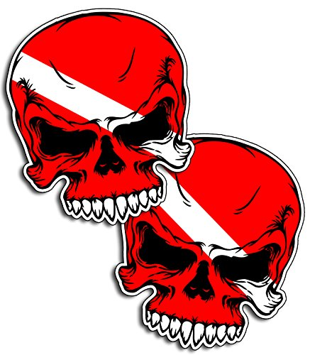 (MED Scuba Skull Diver Down Flag Face Dive Gear Tank Bag Decal Sticker)
