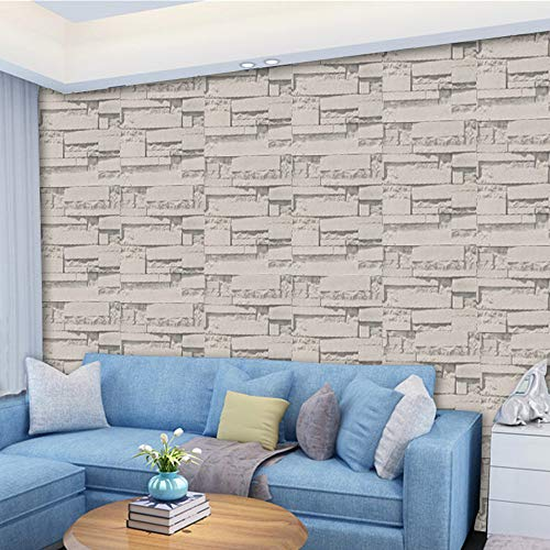 - KFSO 3D Brick Wall Stickers, Stone Rustic Effect Self-Adhesive Wallpaper Waterproof Art Wall Tiles for Bedroom Living Room Background TV Decor