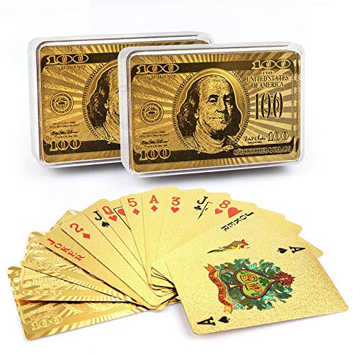 - LotFancy 24K Gold Foil Playing Cards, 2 Decks of Cards with Boxes, Waterproof Plastic, Bridge Size Standard Index, for Cards Games, Magic Props