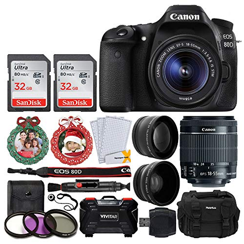 Canon EOS 80D Digital SLR Camera Body (Black) + EF-S 18-55mm f/3.5-5.6 is STM Lens + 58mm Telephoto & Wide Angle Lens + 64GB Memory Card + 3 Piece Filter Kit + Camera Case + Holiday Accessories]()