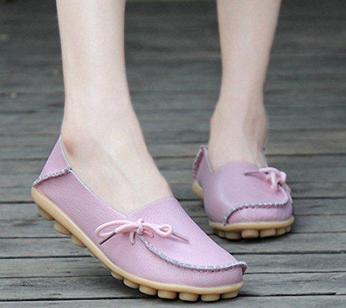 Vrouwen Loafer Schoenen Casual Wandelschoenen Plat Rijden Schoenen Slip Op Mocassin Bootschoenen Roze