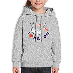 Narwhal Whale I Love Bacon Children's Pullover Hoodie With Hat