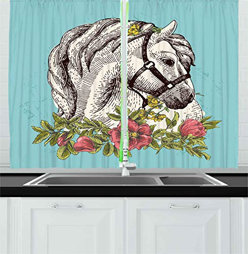 Ambesonne Floral Kitchen Curtains, Boho Style Horse Opium Blossoms Poppy Wreath Equestrian Illustration, Window Drapes 2 Panel Set for Kitchen Cafe, 55 W X 39 L Inches, Turquoise Apple Green