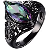 Mystic Marquise Cut Rainbow Sapphire Wedding Ring 10KT Black Gold Filled Sz 5-11#by pimchanok shop (9)