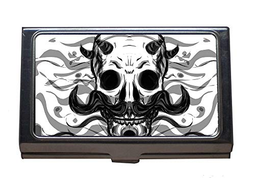 Professional Business Card Case,Skull Danger Head,Stainless Steel Card Holder