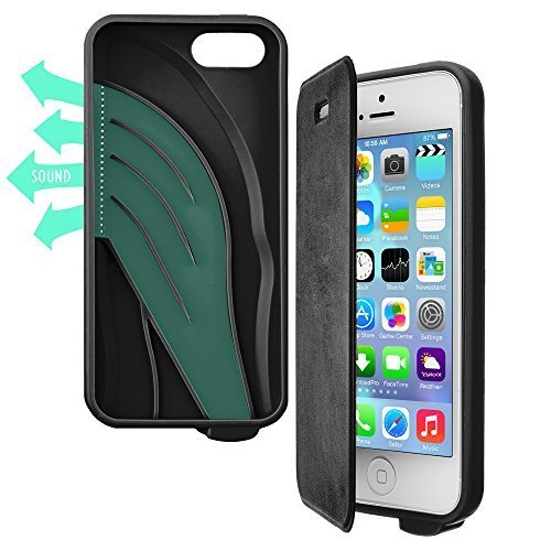 Vaas Boost Protective Case + Cover w/Sound Amplifying for Apple iPhone 5/5S/SE - Black (Retail Packaging) (Boost Sound)