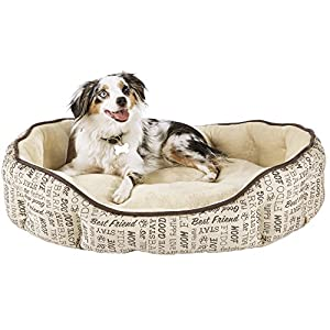 Harmony Woof Printed Cuddler Dog Bed well-wreapped