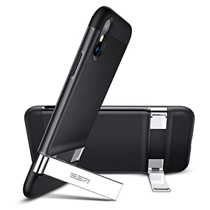 ESR Metal Kickstand Case for iPhone Xs Max, [Vertical and Horizontal Stand]  [Reinforced Drop Protection] Hard PC Back with Flexible TPU Bumper for