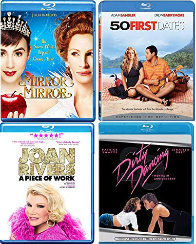 (Princess Dance Dating Comedy Fun Blu Ray 4-Pack Mirror Mirror Snow White Tale Julia Roberts + 50 First Dates Drew Barrymore & Dirty Dancing Patrick Swayze & A Piece of Work Girls Night out!)
