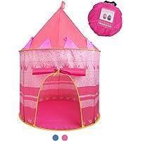 Jasonwell Casa de campaña con diseño de Castillo para niños niñas Tiendas de campaña Transpirable para Guardar Juguetes Uso Interior y Exterior (Rosa)