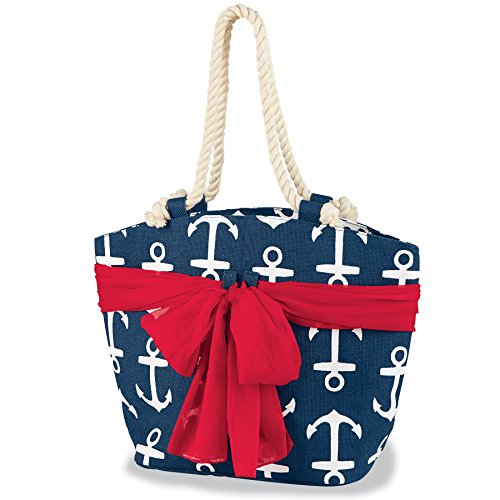 Mud Pie Women's Fashion Beachcomber Sea Print Sarong-Along Tote Bag (Navy Anchor)