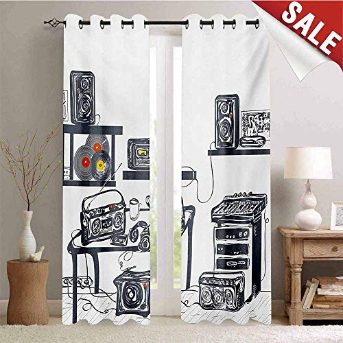 - Hengshu Modern Decor Curtains by Recording Studio with Music Devices Turntable Records Speakers Digital Illustration Room Darkening Wide Curtains W96 x L96 Inch Cadet Blue