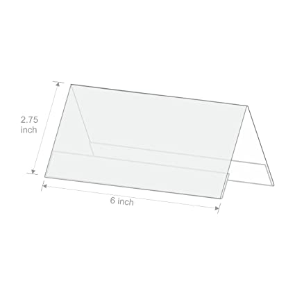clear acrylic table top name plates 2 sided view pack of 2pcs