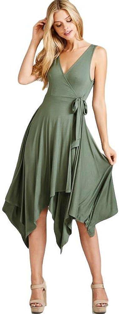 Emerald Olive Wrap Dress Sleeveless V Neckline Asymmetrical Hemline Tie Waist Summer Dress