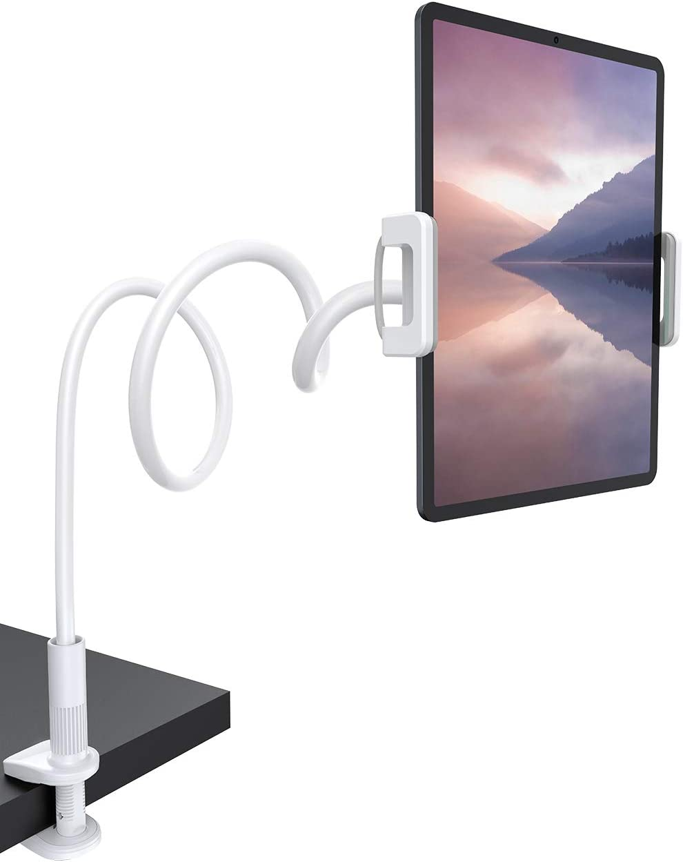 "Gooseneck Tablet Mount Holder for Bed - Lamicall Flexible Tablet Arm Clamp for Bed Compatible with Pad Mini 7.9, Air 9.7, Pro 10.5, Switch, Galaxy Tabs, More 4.7-11"" Device - White"