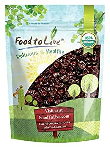 Food to Live Certified Organic Montmorency Dried Tart Cherries (Pitted, Non-GMO, Unsulfured, Sour, Bulk) (1 Pound)