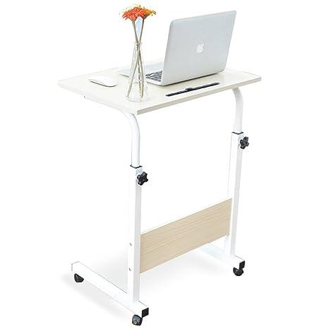DlandHome 60 * 40 cm Ajustable Mesa de Ordenador Portatil con Ruedas Sofá Mesa Mesas de Centro, con Ranura para Tableta, Arce