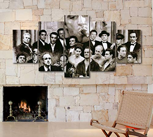 - 5 Piece Famous People Mafia Drug Dealers Poster Canvas Print Art Decor Wall Like Painting Look (5 Piece Medium, Family Gangsters Scarface Colored)