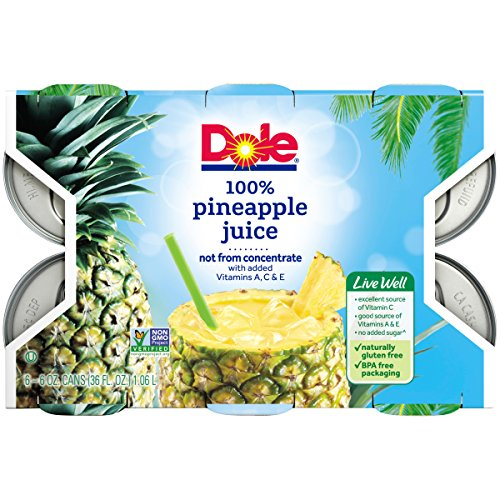 Dole 100% Pineapple Juice, 6 Ounce Can (Pack of 6), Pineapple Juice in Individual-Serving Cans, Great for Smoothies Drinks Marinades Desserts and More by Dole (Image #9)