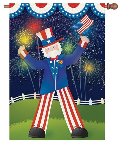 A smiling eye 52139 House Brilliance Flag, Uncle Sam Big Day, 28 by 40-Inch