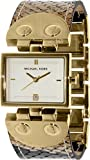 Michael Kors MK2114 White Date Dial Brown Leather Gold Steel Women Watch NEW