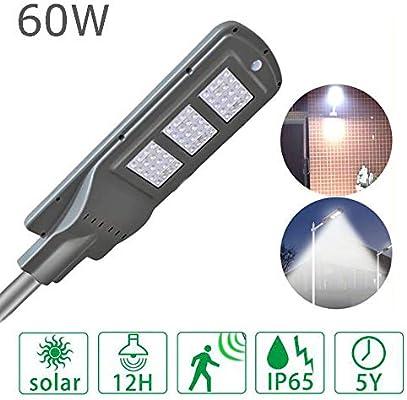 Farola solar de 60 vatios con sensor de movimiento, lámpara de ruta impermeable al aire libre IP65 Iluminación de seguridad de anochecer a amanecer para caminos Jardín de jardín: Amazon.es: Iluminación