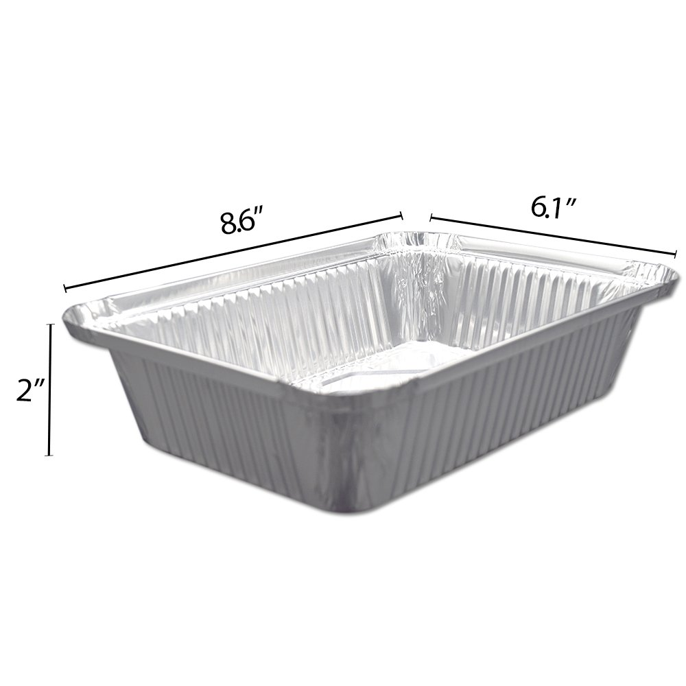 Fig & Leaf (120 Pack) Premium 2-LB Takeout Pans with LIDS l Standard 8.6'' x 6.1'' x 2'' l Top Choice Disposable Aluminum Foil for Catering Party Meal Prep Freezer Drip Pans BBQ Potluck Holidays by Fig & Leaf (Image #6)