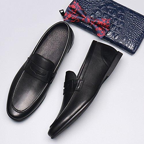 Homme Classique Commercial Leather Chaussures en Cuir Souple pour Hommes Round Head Lounger British Style Souliers Simples Cuir (Couleur : Café Couleur, Taille : EU44/UK8.5) Noir