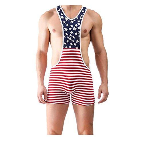 Inverlee Men American Flag Wrestling Singlet Gym Underwear Bodysuit Lingerie Outfit Pants (S, Red)