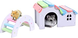 Dwarf Hamsters House DIY Wooden Gerbil Hideout Mouse Exercise Bridge Sugar Glider Huts Syrian Hamster Cage Accessories Climbing Toys Small Animal Hideaway