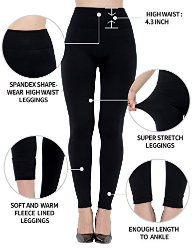 Fleece Lined Leggings for Women High Waist,Elastic and Slimming, 6 Pack - (2)black/wine/brown/grey/navy, One Size