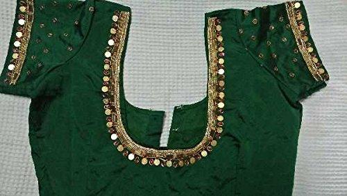 ebe8aebbec746 Lakshmi kasu maggam work green blouse.  Amazon.in  Clothing ...