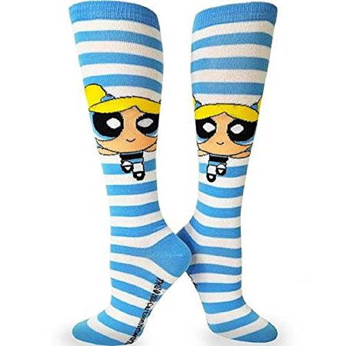 Powerpuff Girls-Rugby Knee High Cosplay Socks-1 Pair-Size 4-10-Bubbles ()
