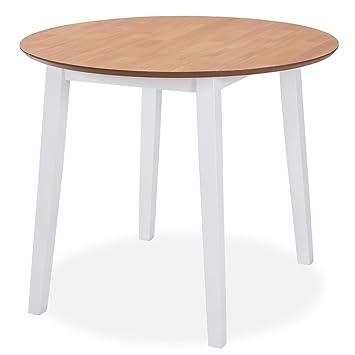 mewmewcat Mesa Plegable para Cocina de Redonda,Ambos Lados se Pueden  Plegar,MDF,90x75cm,Blanca