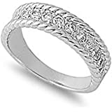 Sterling Silver Clear Cubic Zirconia CZ Rope Band Ring