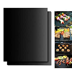 Grillcent Grilling Sheets, Set Of 2 Nonstick BBQ Grill Mats, Barbecue Mats For harcoal, Electric, Gas Grills