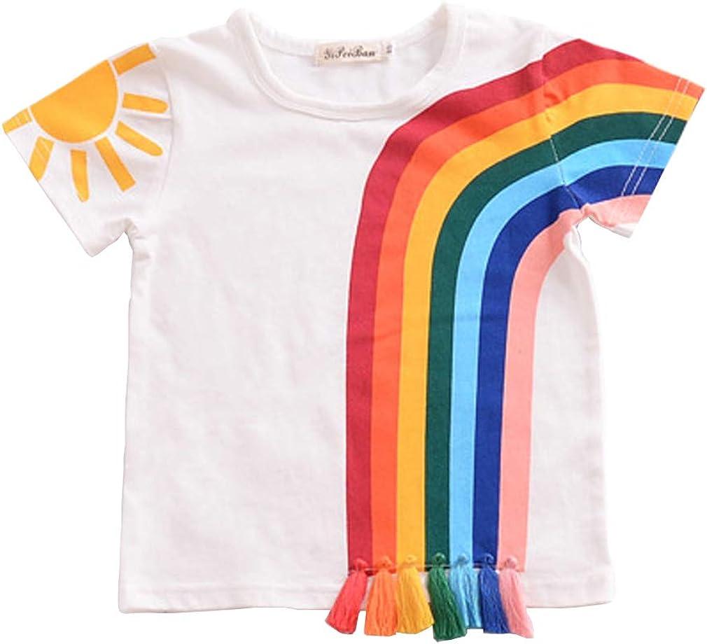 Toddler Kids Baby Boy Girl Short Sleeve Tassel Rainbow T-Shirt Striped Summer Casual Tops (White, 1T)