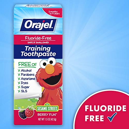 51bmPd7BKWL - Orajel Elmo Fluoride-Free Training Toothpaste, Berry Fun, One 1.5oz Tube: Orajel #1 Pediatrician Recommended Brand For Kids Non-Fluoride Toothpaste