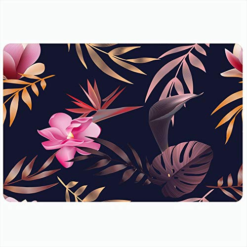 Ahawoso Indoor Bath Rug for Bathroom Non Slip Mats 16x24 Inch Upholstery Tropical Leaf Spring Blue Flowers Jungle Leaves Abstract Exotic Nature Summer Paradise Bathing Shower Doormat Rubber Mat (Upholstery Springs Palm)