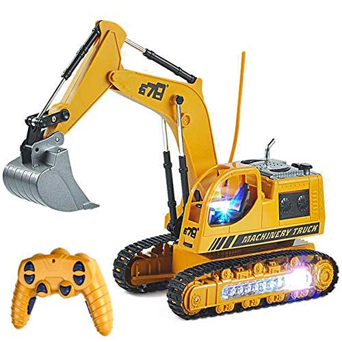 RC Excavator Truck Toy Construction Tractor Car for Toddler Boy, Full Functional Remote Control Excavator with Metal Shovel, Lights and Sounds