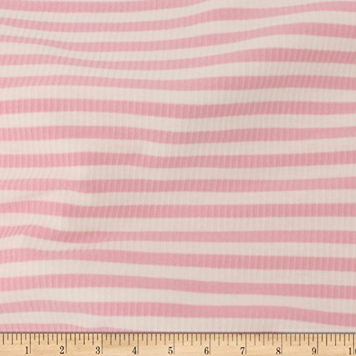 TELIO Rib Stripe Rayon Spandex Knit Pink/Ecru Fabric by The Yard