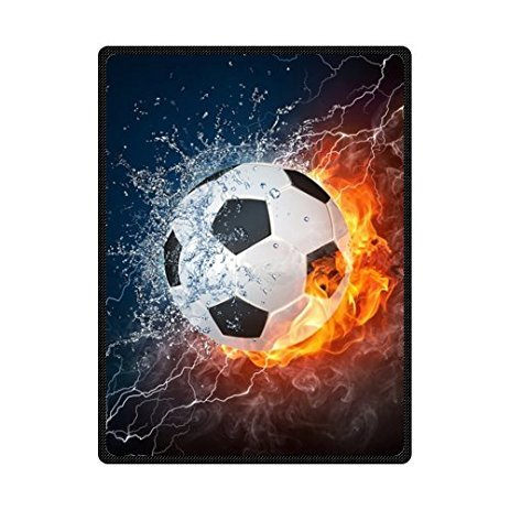 Cool Soccer Ball Art Theme Soft Throw Blanket 58x80 Inch