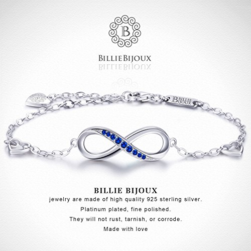 Billie Bijoux Womens 925 Sterling Silver Infinity Endless Love Symbol Charm Adjustable Bracelet Gift for Mother's Day (Blue) by Billie Bijoux (Image #3)