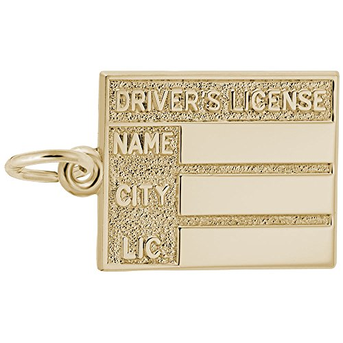 Gold Plated Drivers License Charm, Charms for Bracelets and Necklaces ()
